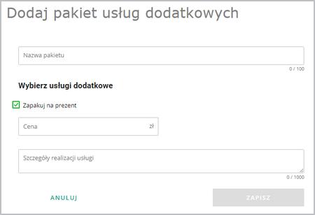 uslugi dodatkowe dodaj pakiet uslug dodatkowych